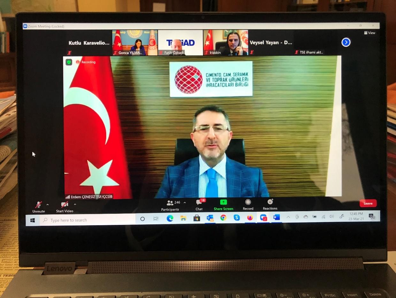 Ticaret Bakan Yardımcısı Sayın Gonca Yılmaz Batur başkanlığında Avrupa Yeşil Mutabakatı (AYM) Durum Değerlendirme Toplantısı 23.03.2021 tarihinde online olarak gerçekleştirilmiştir.